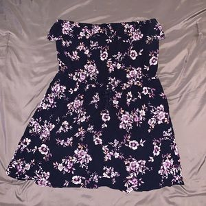 Blue/purple strapless dress